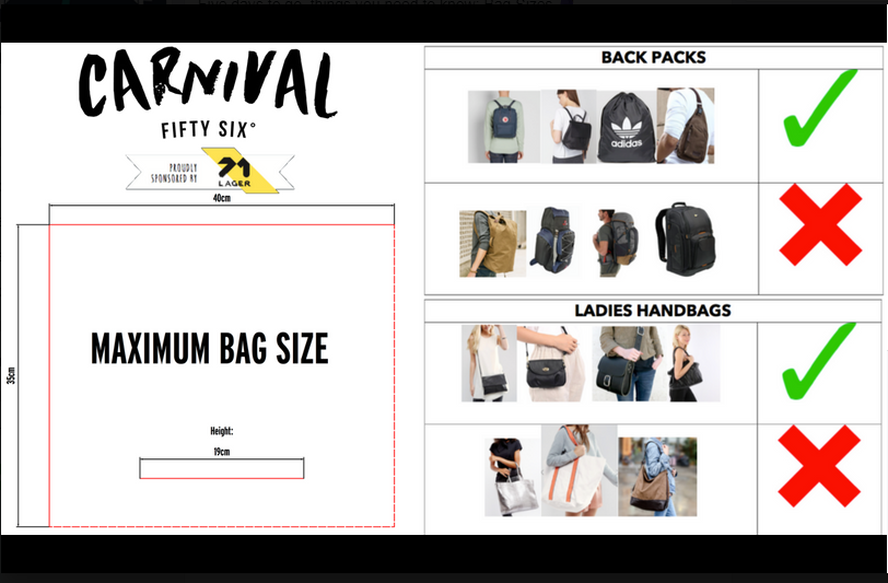 A reminder of the types of bag banned from the festival site.