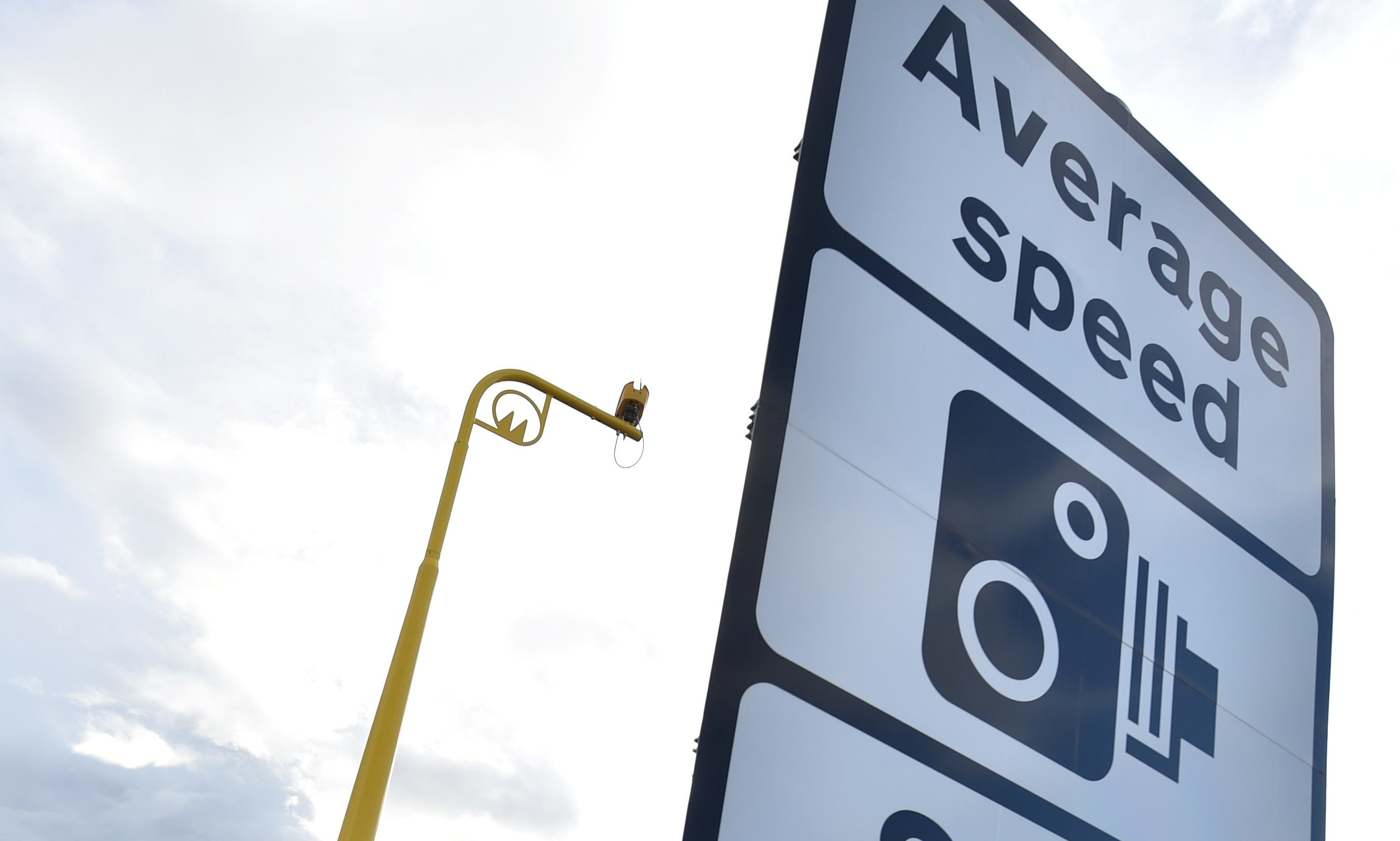 Average speed cameras on the A90 south of Stonehaven.