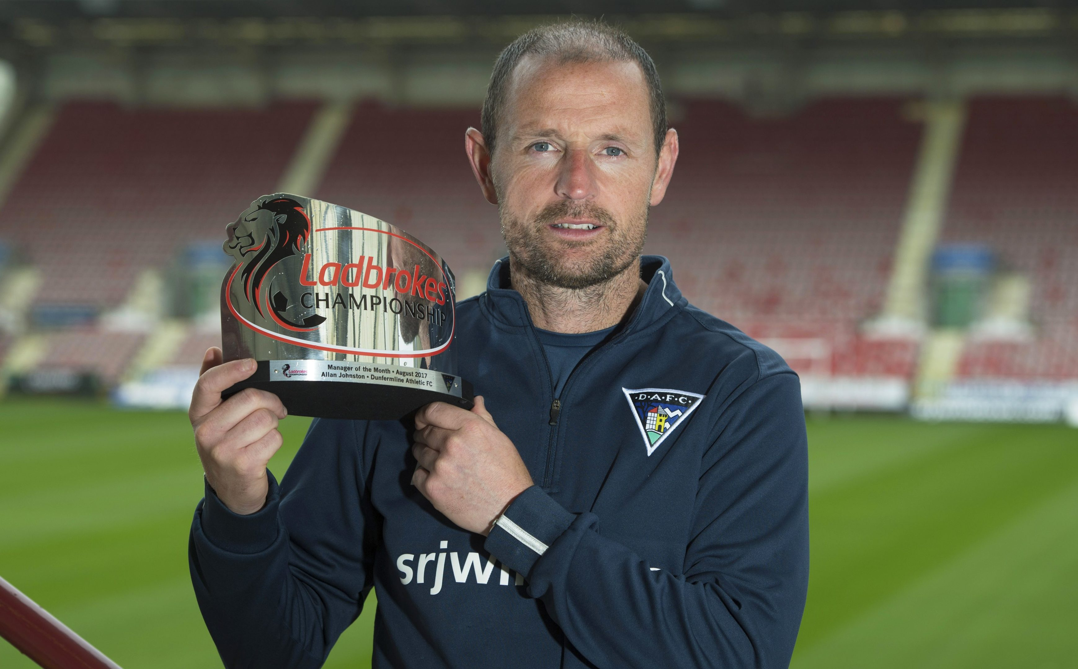 Allan Johnston with his Ladbrokes manager of the month award.