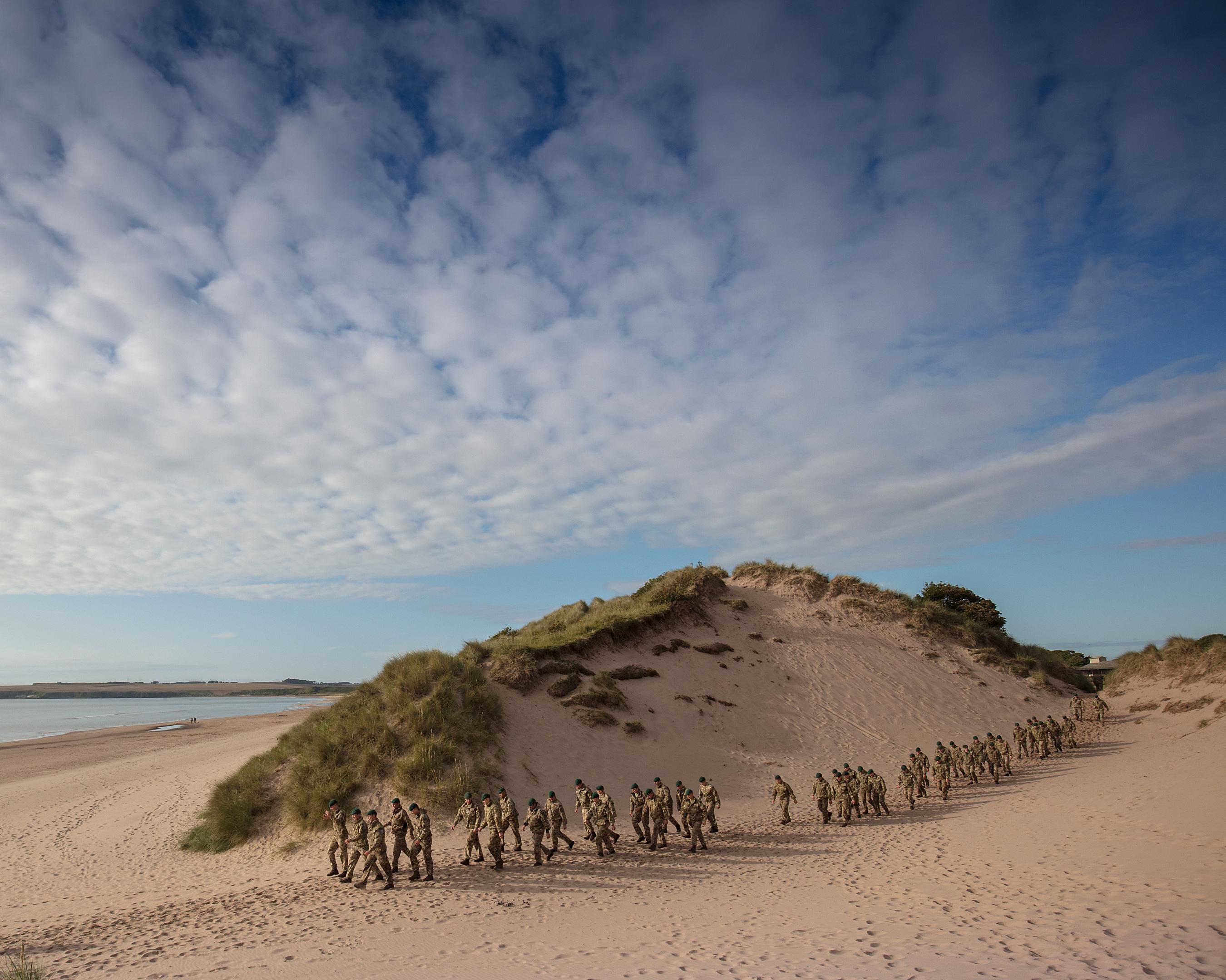 Members of 45 Commando unit ran 10 miles to Lunan Bay