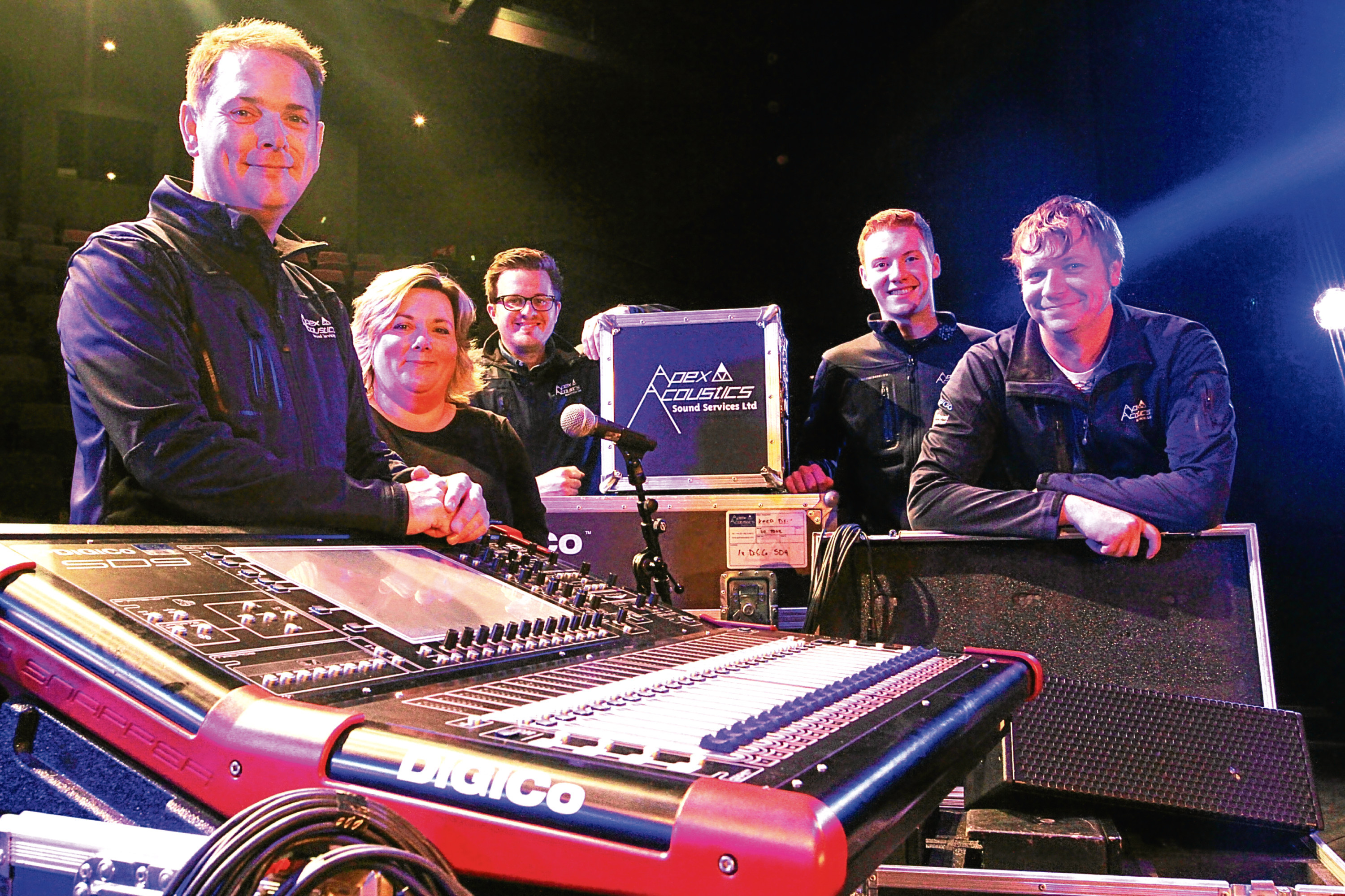Apex Acoustic's director Paul Smith, admin Louise Price, project manager Sean Quinn, sound engineer Chris Combe and technical manager Scott McGurk.