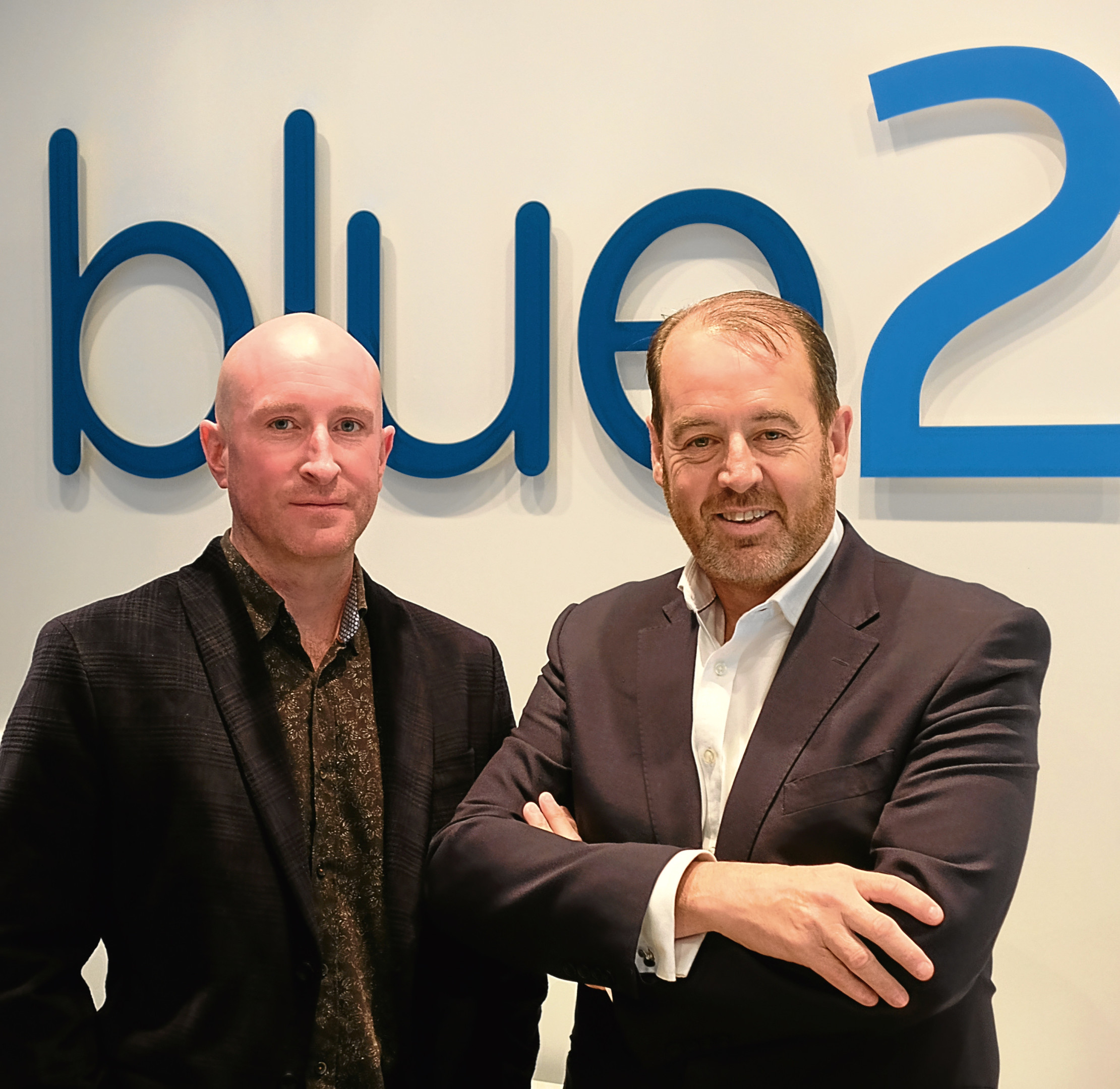 Chris Gilchrist and Scott McCallum at the Blue2 Digital offices in Broughty Ferry