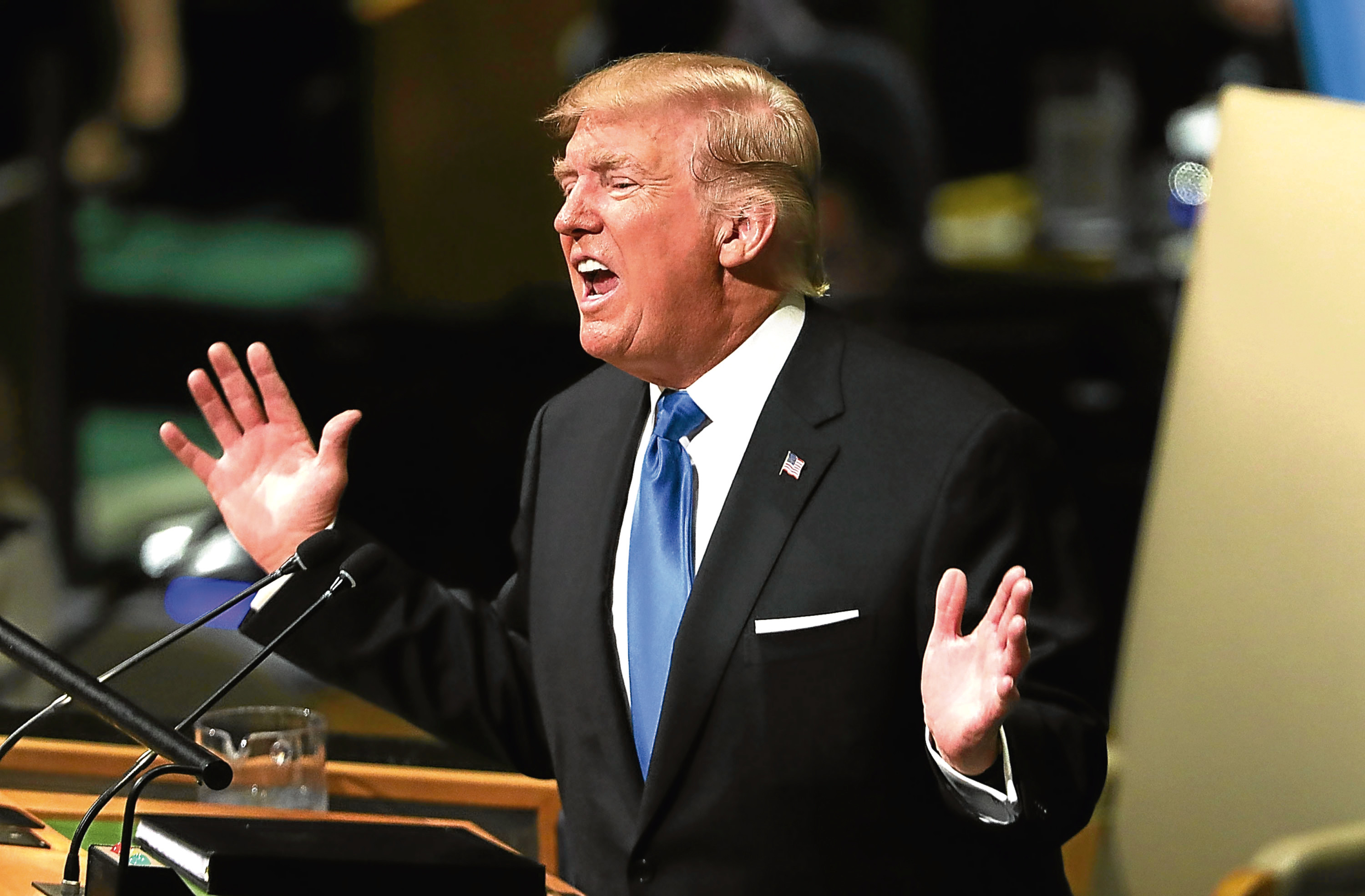 President Donald Trump speaks to world leaders at the 72nd United Nations (UN) General Assembly at UN headquarters in New York.