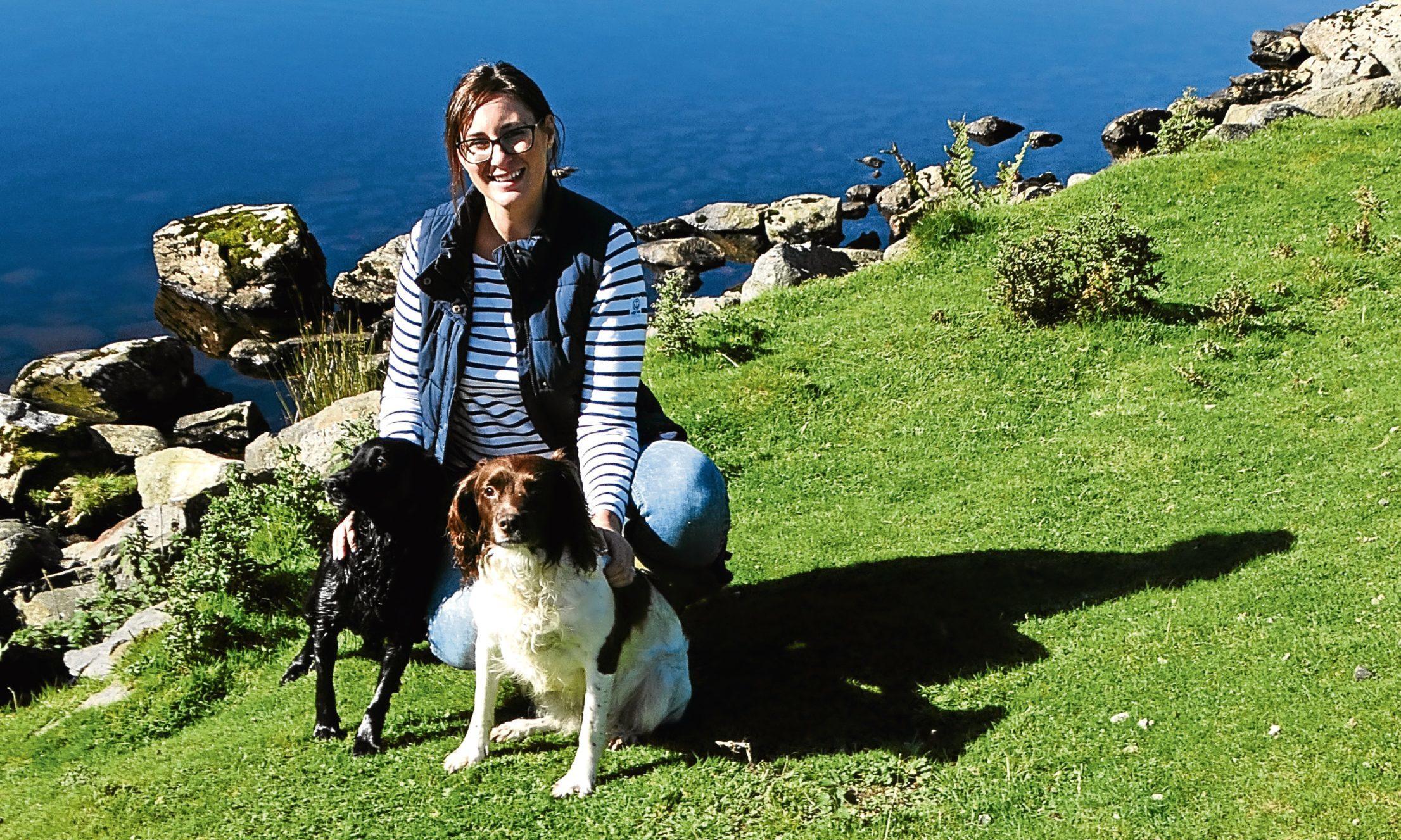 Lianne with Nelly and Emba beside Loch Lee, Glenesk.