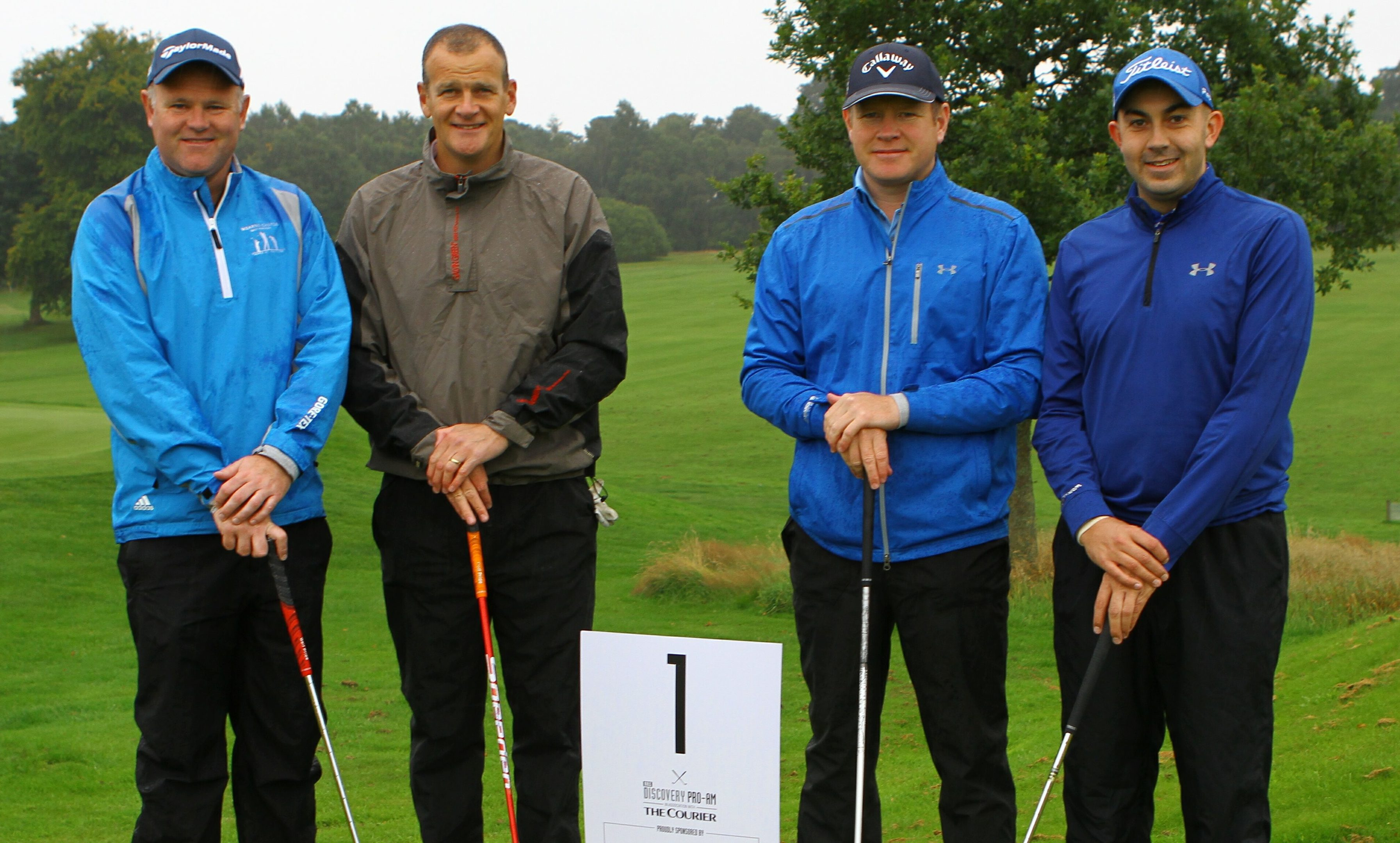Alastair Forsyth, Ross Graham, Stuart Graham and Nick Barr before teeing off at the RRS Discovery Pro-am Golf Tournament at Downfield Golf Club.