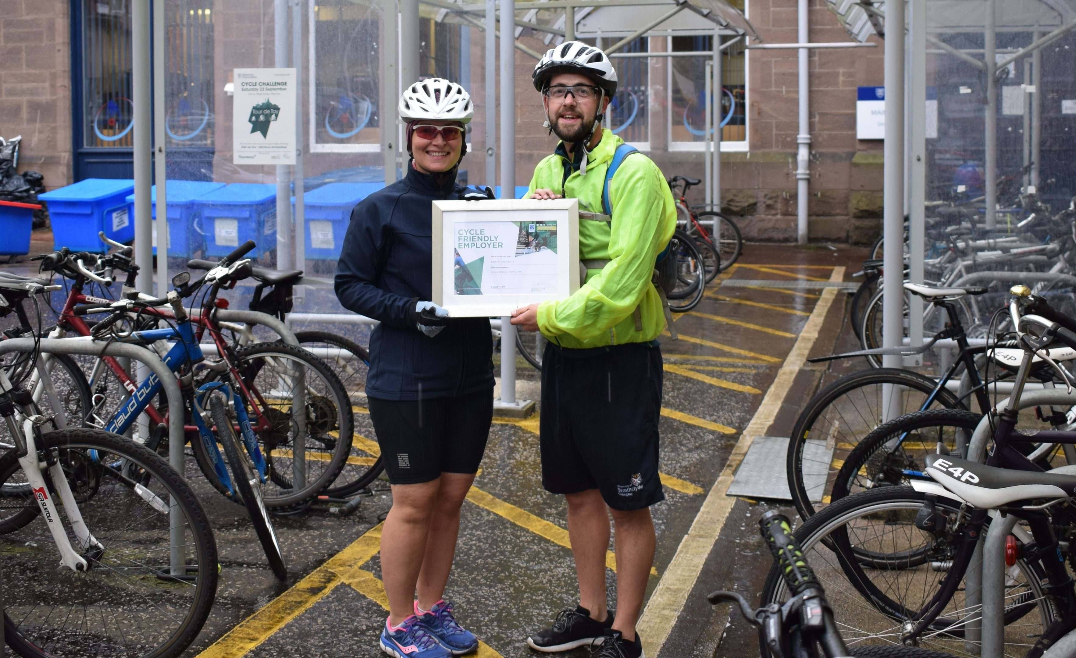 Business continuity and safety co-ordinator Shonagh McAlpine, and Dundee Academy of Sport teaching fellow Iain Stewart with the Cycling Scotland certificate.