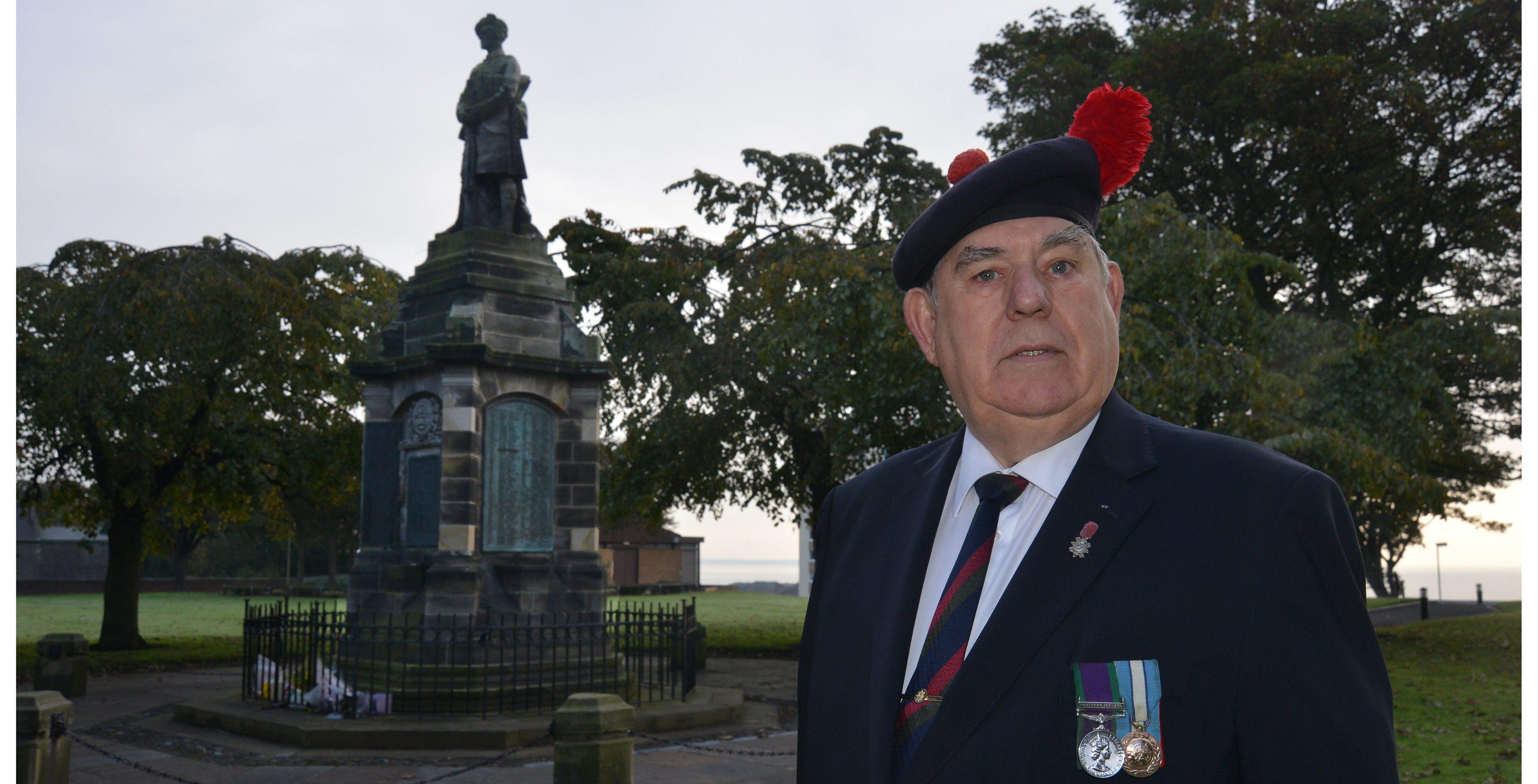 Rob Scott pictured at Methil war memorial