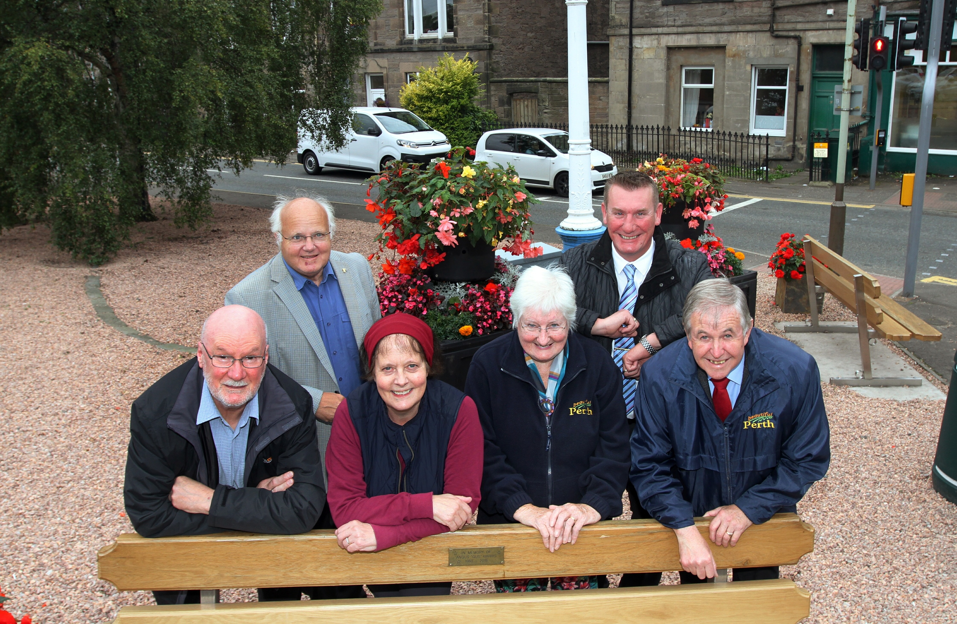 (back) Cllr Bob Brand & Chic Duggan of the Abbottsford, (front) Cllr Michael Jamieson, Monica Straughan and , Barbara McDonald, and John Summers of Beautiful Perth