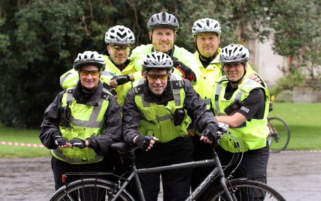 Longhaugh police station team,cycling to raise money for the Mill O Mains Pavilion: PC Dave North, PC Neil Robertson, PC Amanda Watson, PC Lyndsey Mackie, PC Marc Sime & PC Richard Heggie