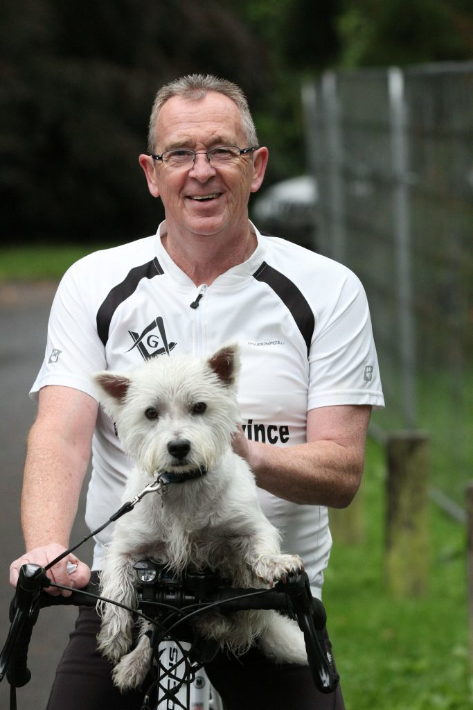 "Graham Letford (60) from Douglas with ""Blue"" the dog"