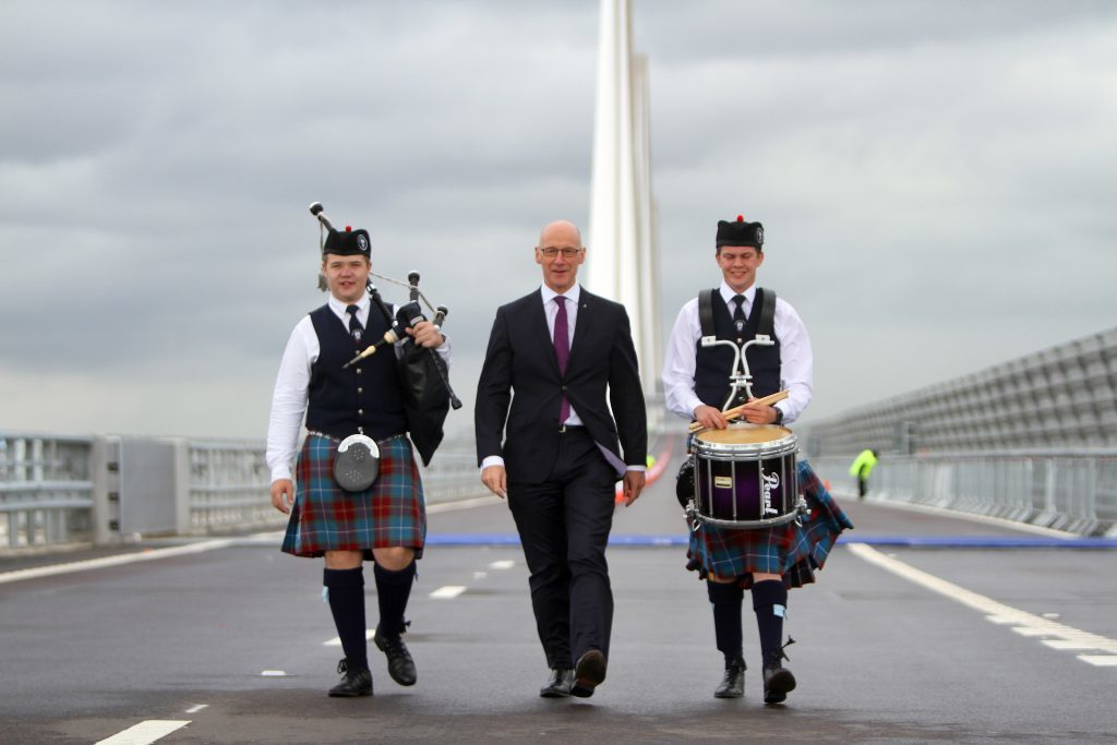 John Swinney MSP with Cameron Venters and Gregor Drury from Burntisland and District Pipe Band (and Inverkeithing High School)