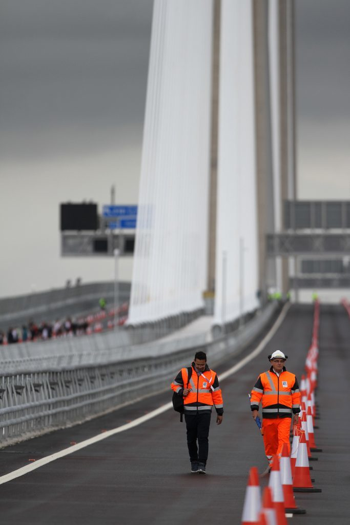 Workmen and traffic cones on the Queensferry crossing.