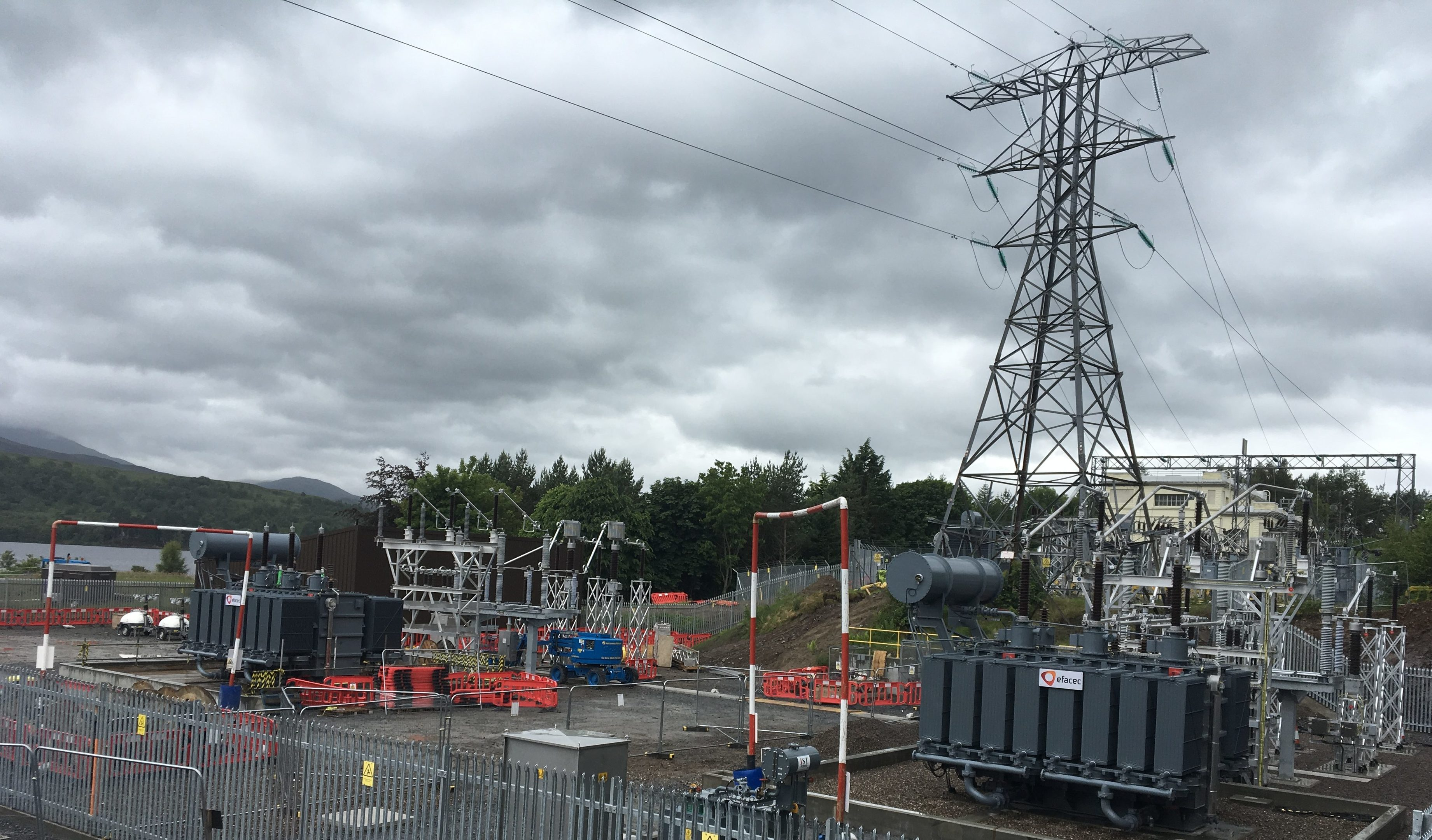 The extended and modernised Rannoch substation is now fully operational. Two of the giant transformers are to the fore.