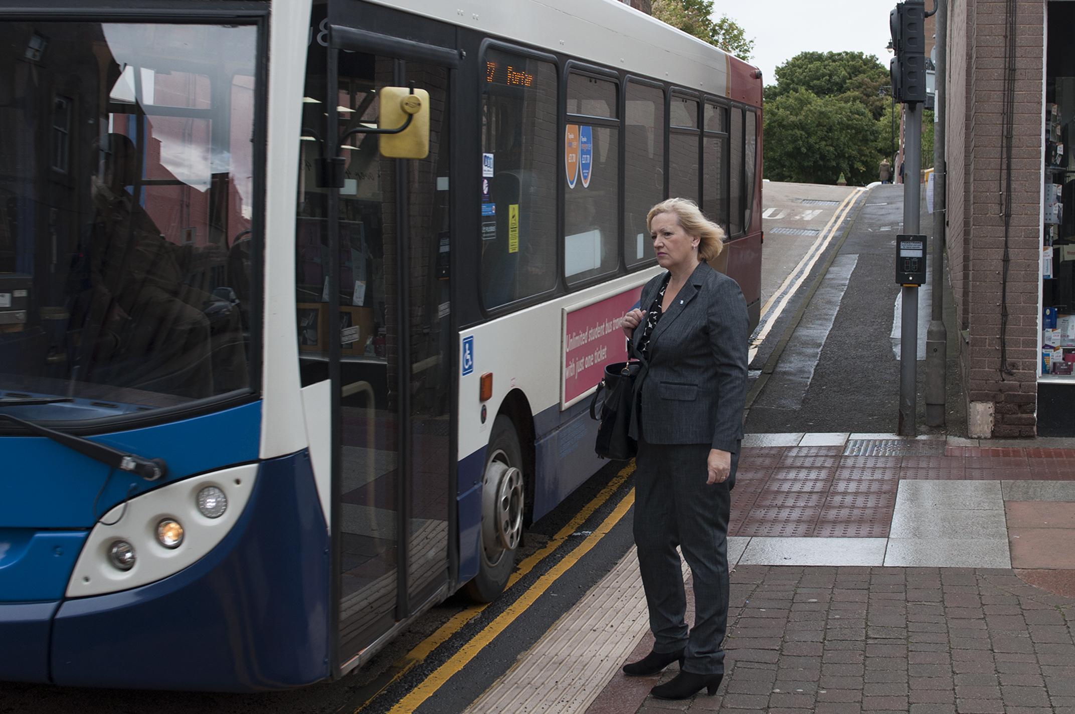 Councillor Brenda Durno at the junction