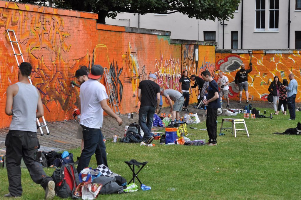 Graffiti artists at the event