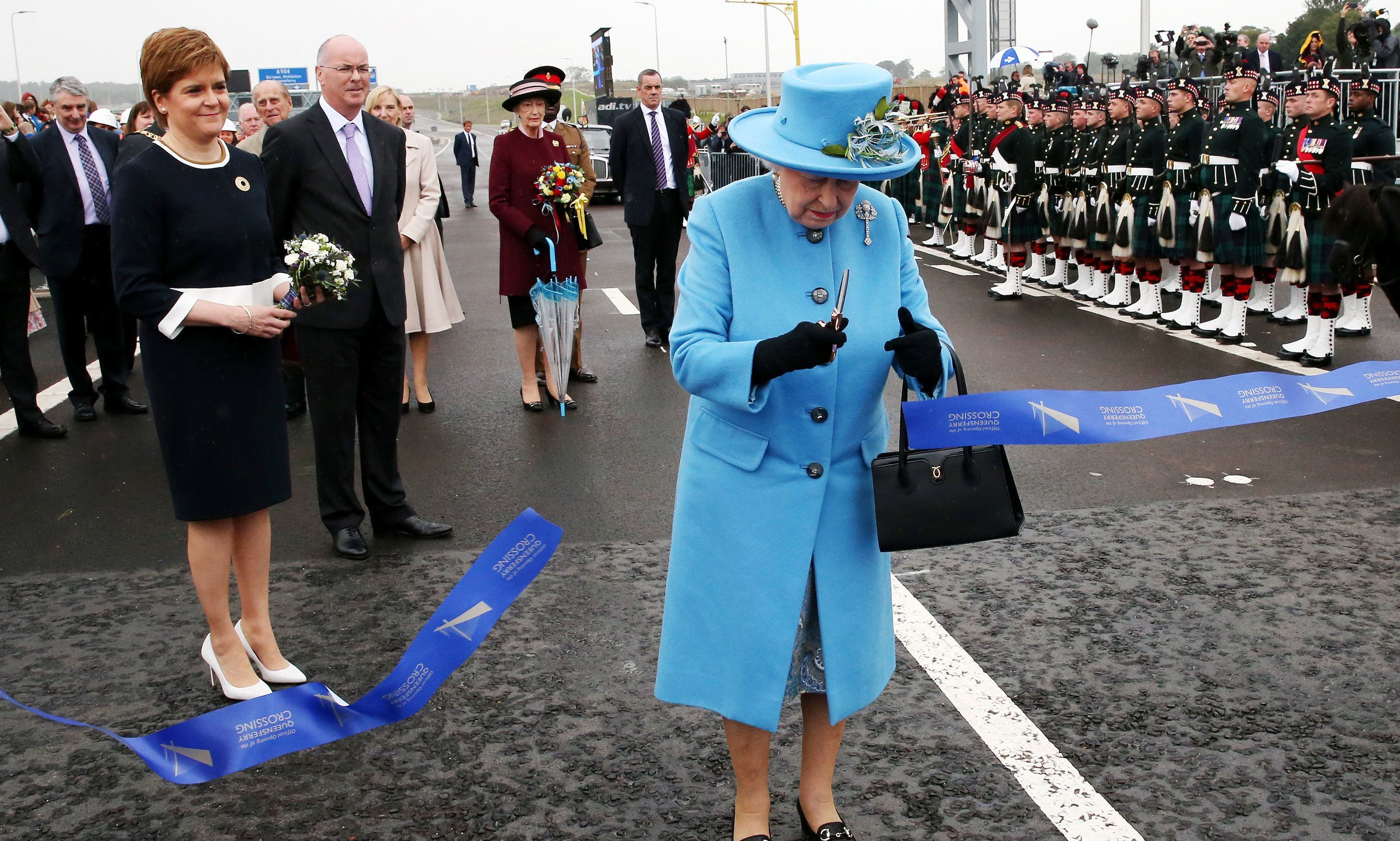 The Queen officially opens the Queensferry Crossing as First Minister Nicola Sturgeon looks on.