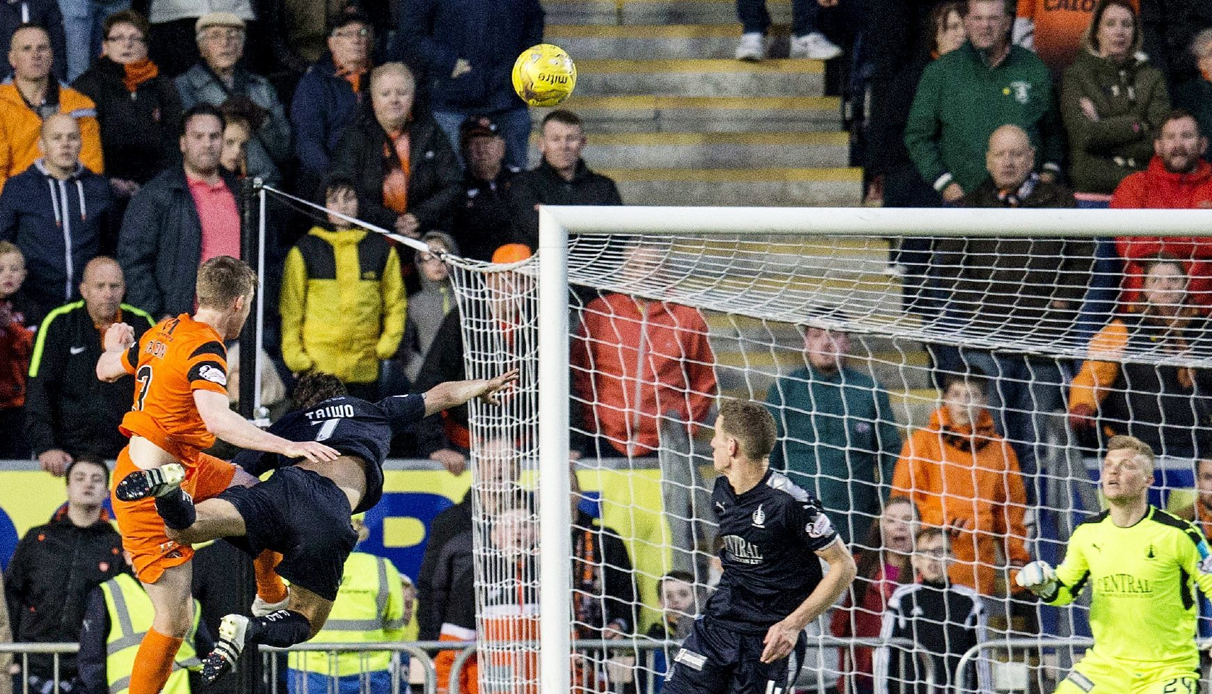 Paul Dixon scores against Falkirk.