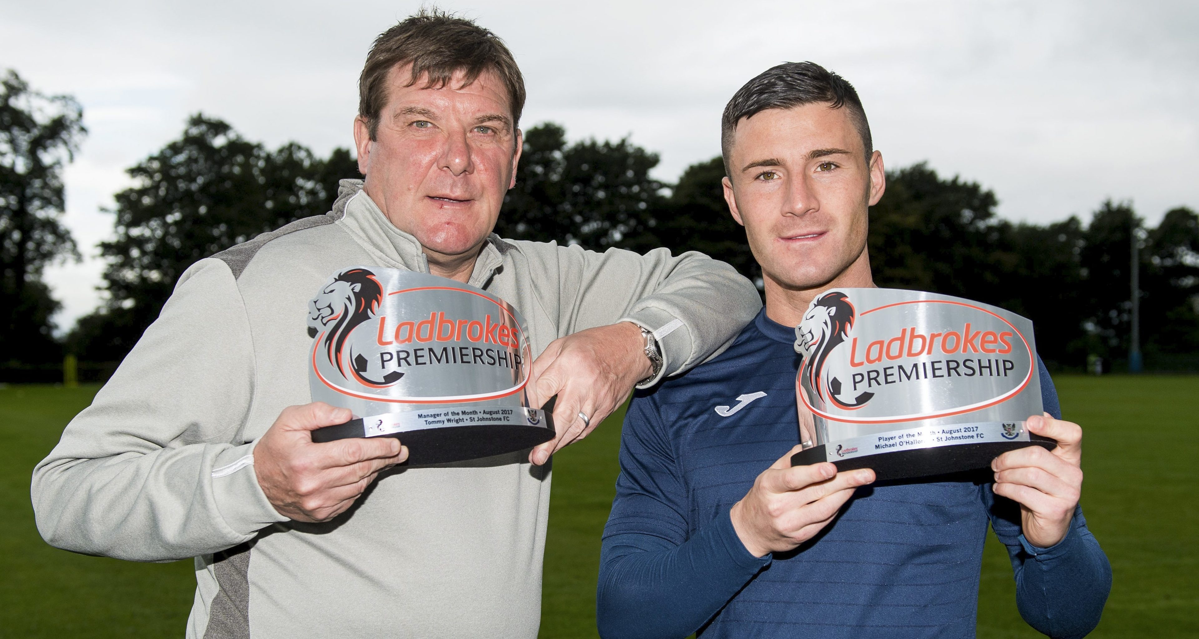 St Johnstone manager Tommy Wright (left) and striker Michael O'Halloran receive the Ladbrokes Premiership Manager and Player of the Month awards for August.