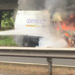 Van driver escapes from blazing van on M90