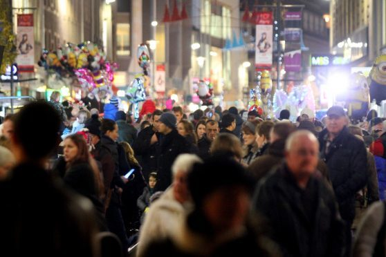 Crowds at a previous Perth Christmas lights switch-on.