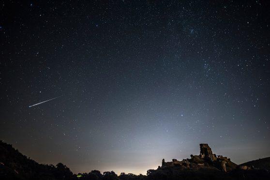 A Perseid meteor shower.