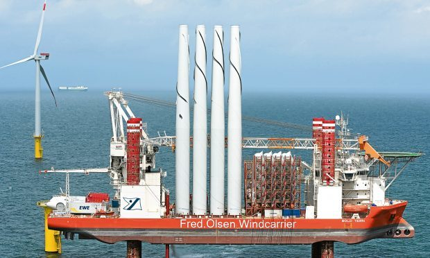 Operations as part of an offshore wind farm build off Borkum, Germany. The NNG Coalition is hoping to see similar scenes off the coast of Fife