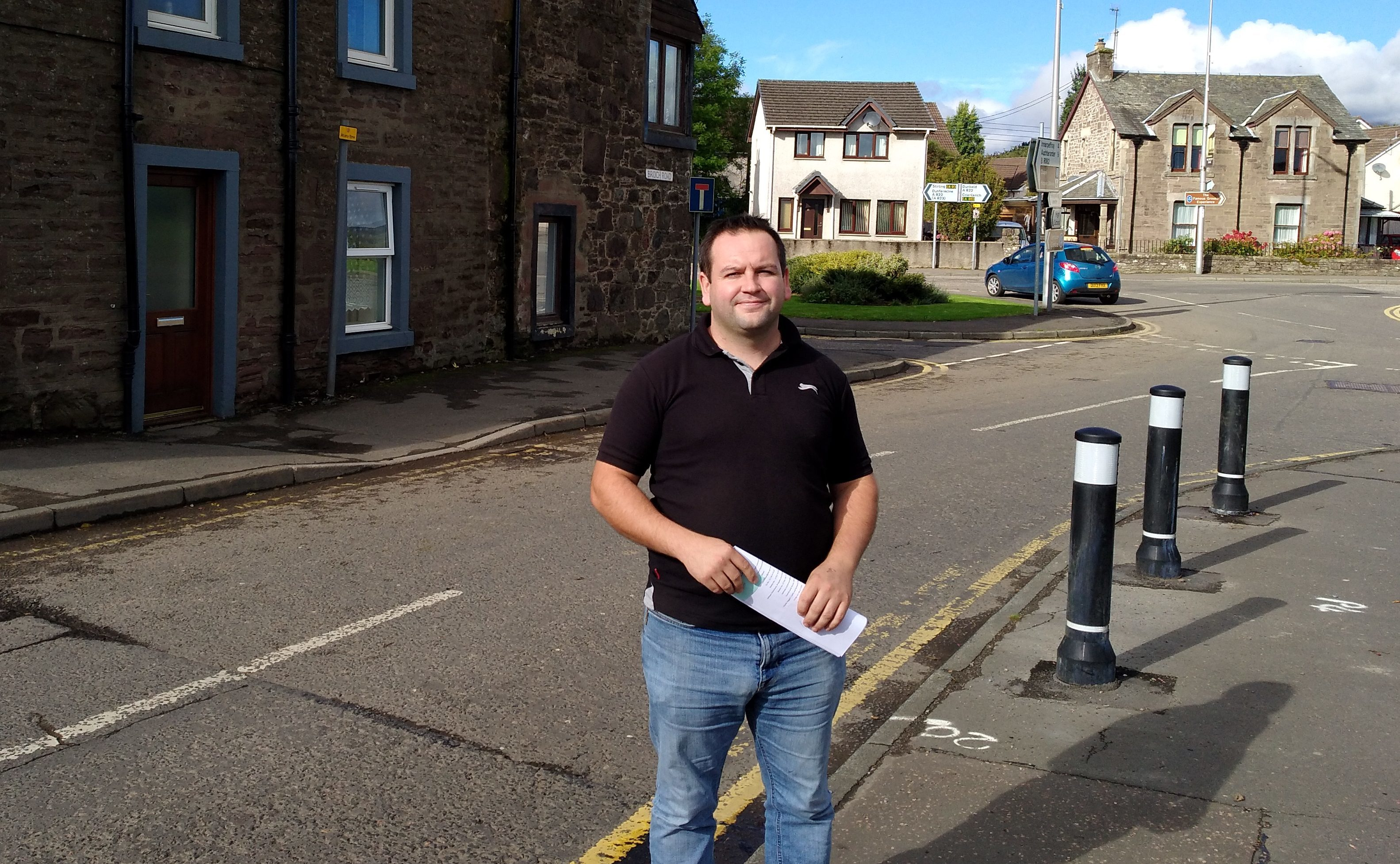 Mr Finlay at the junction of Broich Road and King Street, where he hopes significant changes will be made.