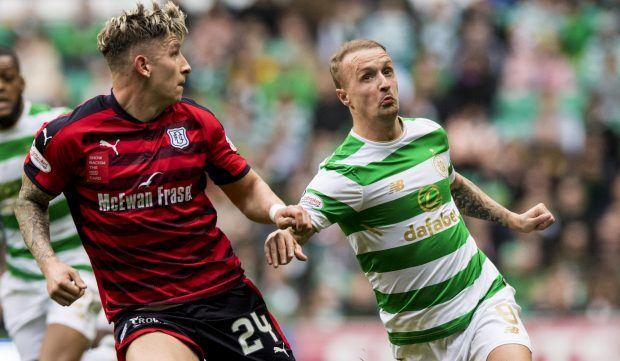 Josh Meekings tussles with Celtics Leigh Griffiths.