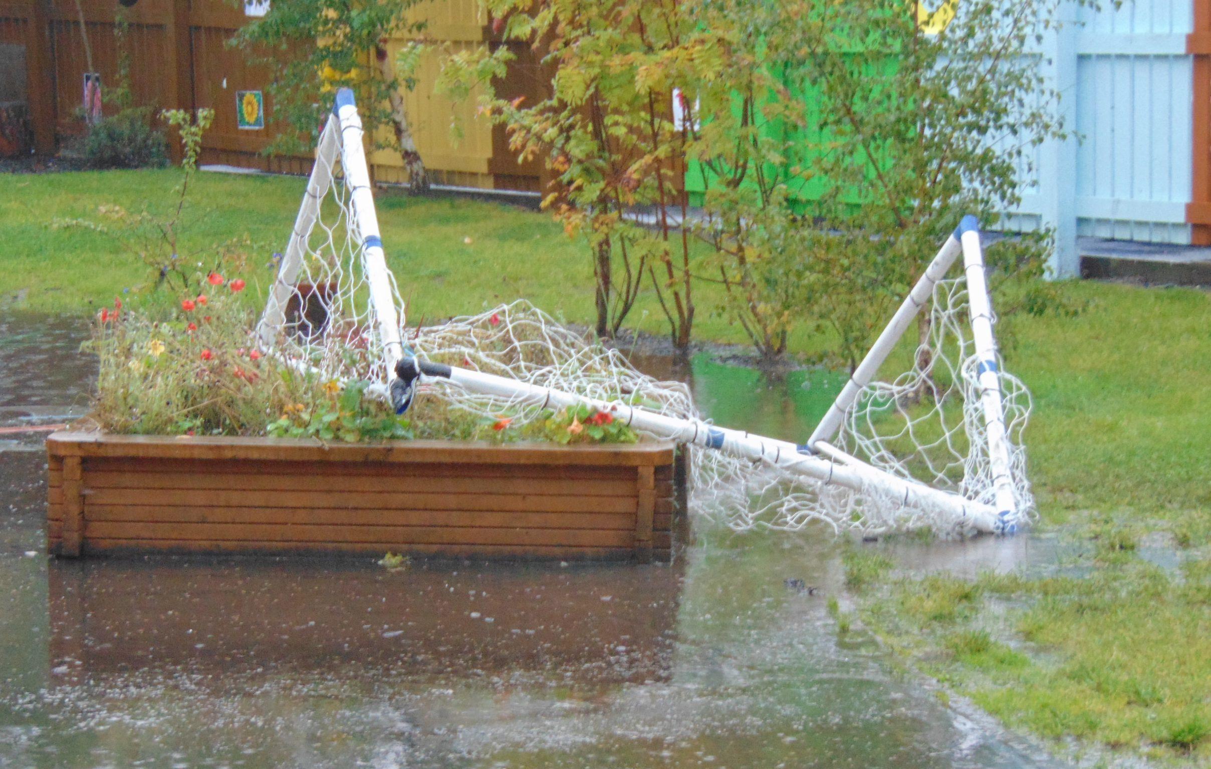 Vandalised football goals at Inch View Nursery School, Perth.