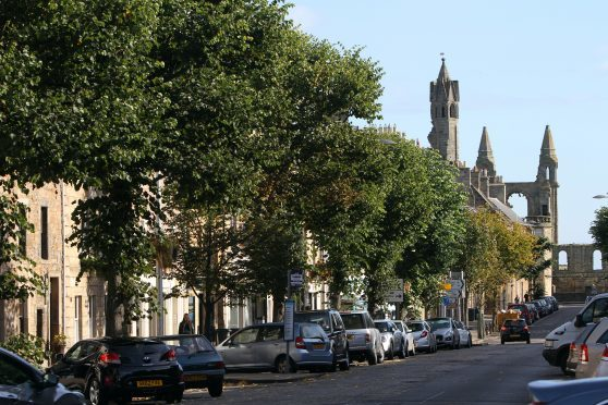 Kris Miller, Courier, 30/09/14. Picture today general view of South Street and cathedral in St Andrews for files.