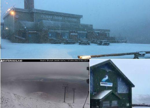 Snowy scenes at Scotland's ski resorts.