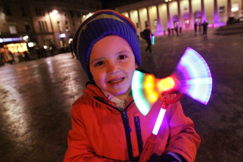 Flynn Dow (4) from Fintry at the Dundee Xmas lights switch-on.