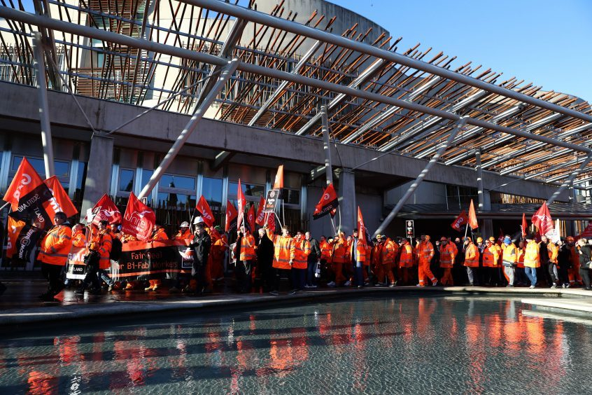 BiFab workers marched on the Scottish Parliament ito save their jobs after the company's difficulties were revealed late last year.