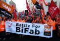 Workers from crisis-hit fabrication firm BiFab march through Edinburgh to the Scottish Parliament last year.