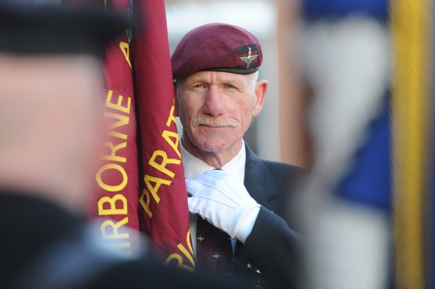 PERTH: Flag bearer for the Paras in the military parade,