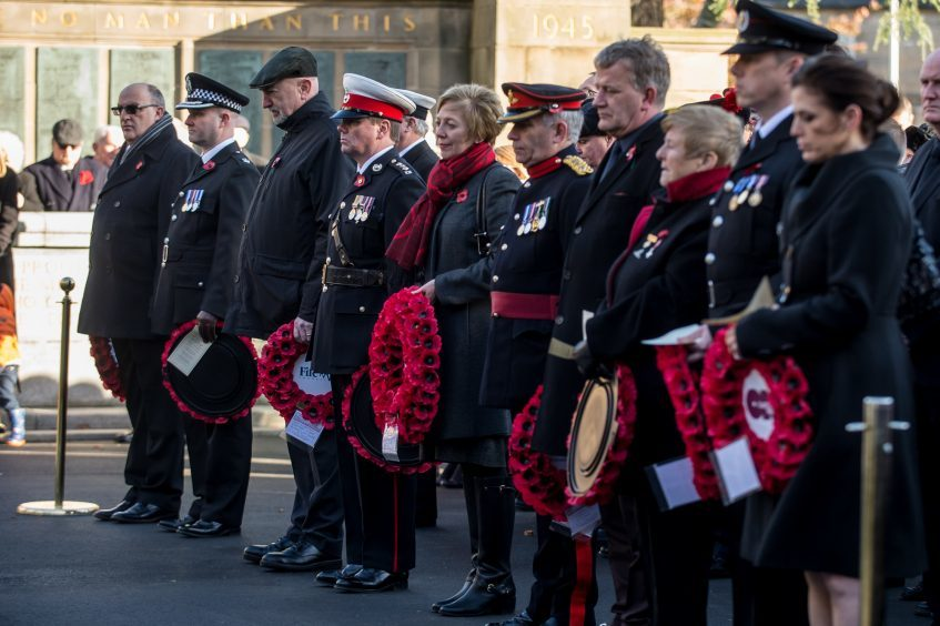 The VIPs waiting to lay their wreaths in Kirkcaldy.