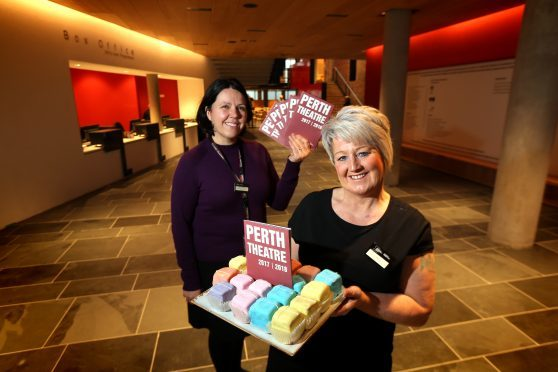 Jennie Baiilie - Marketing Manager and Allison Gormley - Catering Supervisor celebrating Perth Theatre re-opening.