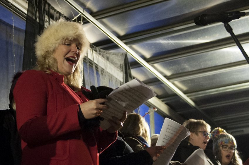 Christmas choir at the Carnoustie switch-on.