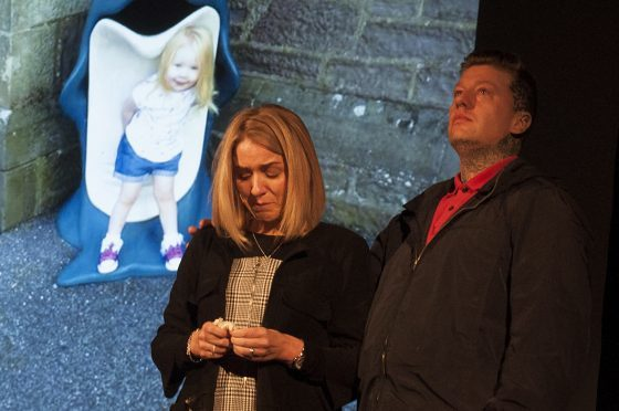 A tearful moment for Harlow's parents Sara and Steven as they tell their family's tragic story at Safe Drive Stay Alive.