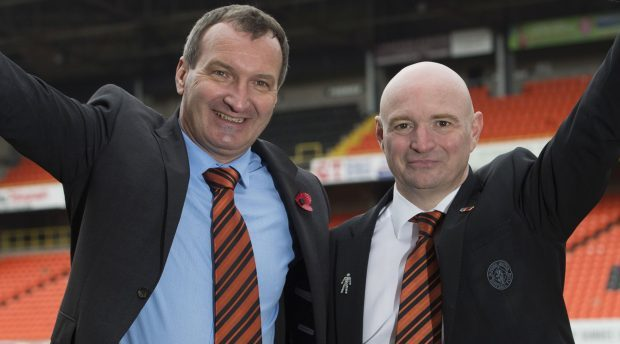 Csaba Laszlo with Stephen Thompson when he was appointed manager.