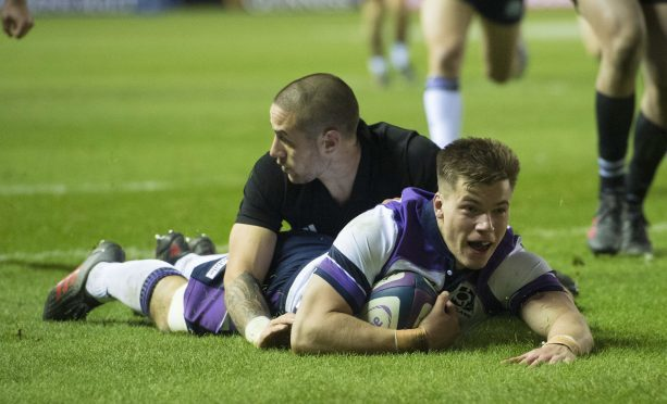 Huw Jones scored his sixth try for Scotland against New Zealand.