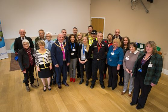 Deputy Provost Colin Brown with members of ENKCA, Emergency Services and other sponsor reps at the new resilience centre in Eassie Town Hall