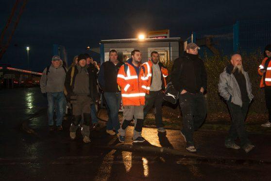 Workers leaving BiFab in Methil on Monday night.