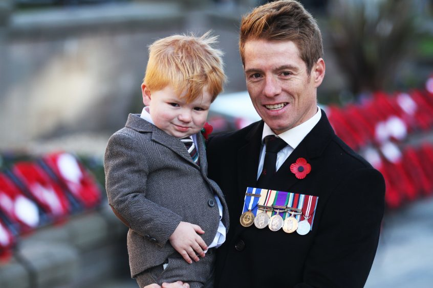 Daniel, 2, with his dad Ian Tosh in Dundee.