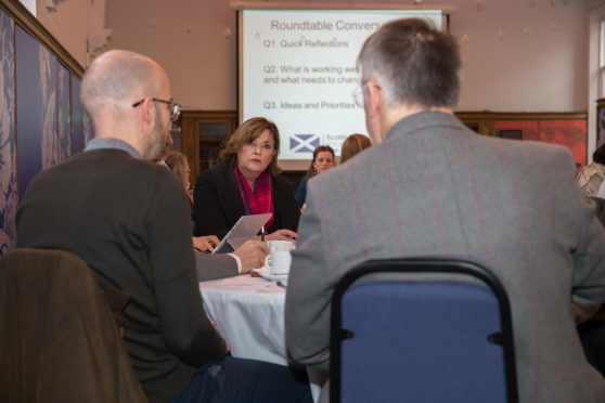 Ms Fiona Hyslop MSP Cabinet Secretary for Culture, Tourism and External Affairs joins delegates at the Carnegie Libraries and Museums Dunfermline engage in round table conversations as part of a Scottish Government partnership with Fife Cultural Trust as part of its programme of early engagement supporting the development of a cultural strategy for Scotland.