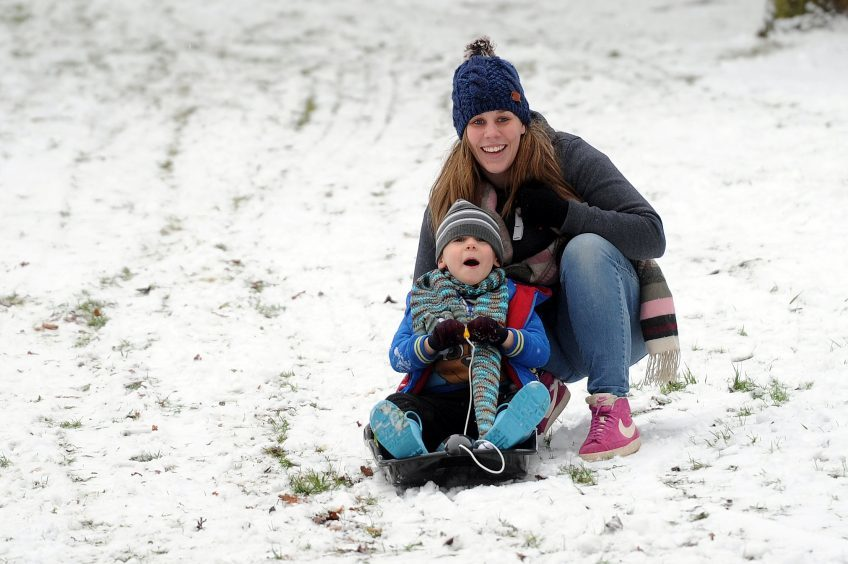 Mum Zoe Buchan with Tyler (5) at Riverside Park, Glenrothes.