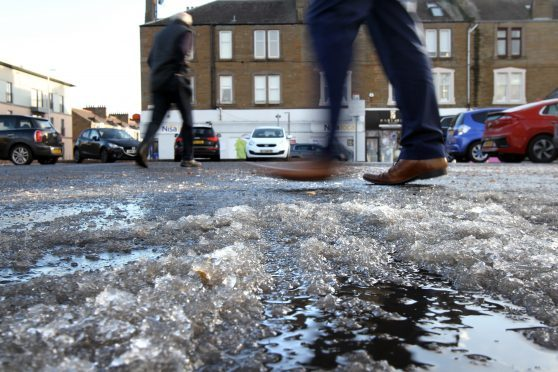 Ice in a car park in Broughty Ferry
