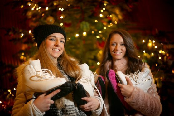 Karly Robertson and Natasha McKay, along with a troupe of youn skaters, wowed the crowds at Gleneagles Hotel.