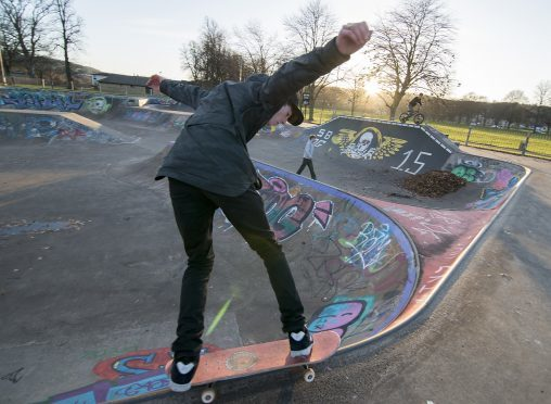 Youngsters pictured having fun at Perth Skatepark.