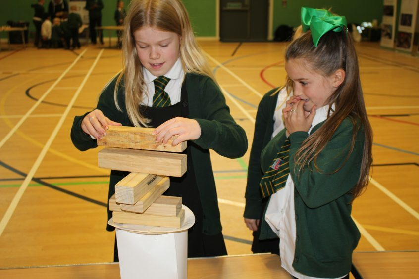 Children from Craigowl Primary School taking part in the superstructure project (build a helipad) during Fife Science Festival.